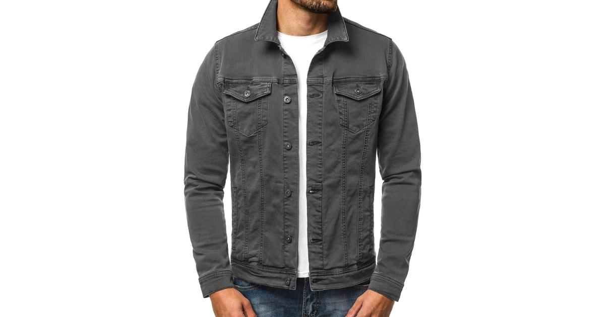 Siiuomo.it - Giacca di jeans moderna da uomo colore grigio scuro OZONEE  B 2063K - Giacca mezza stagione - Giubbotti 5771f28e720