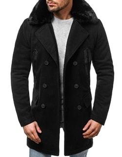 -20% Disponibile Cappotto nero alla moda con pelliccia OZONEE O 88872 ... 9f8656ae138