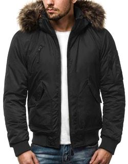 Disponibile Bomber nero invernale da uomo con cappuccio staccabile OZONEE  O 99122 ... 980a6862bd8