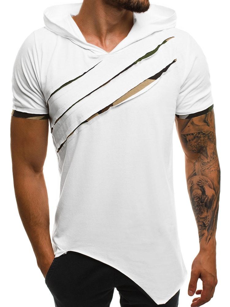 shirt bianca T uomo Siiuomo A1185 OZONEE asimmetrica it T shirt qF1x6