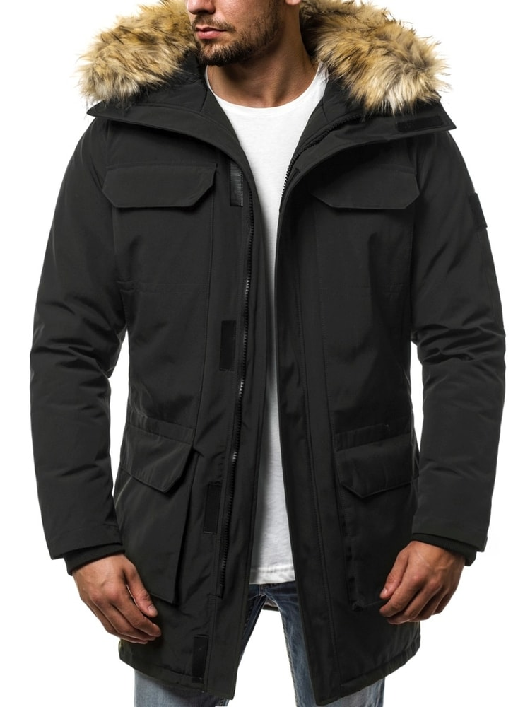Siiuomo.it - Parka uomo invernale alla moda colore nera OZONEE JS ... 3bd0a9686a0