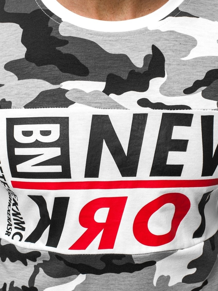 Siiuomo.it - Maglietta mimetica bianca nera da uomo con stampa ... 51b4be70ccb