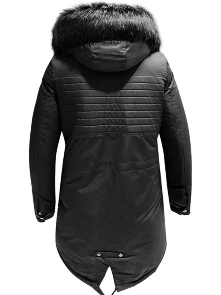 Siiuomo.it - Trendy parka nera invernale da uomo con cappuccio ... 29c99ae25c2